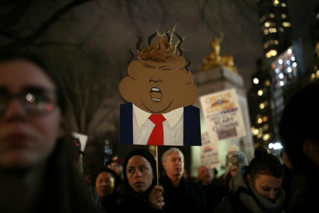 A sign during the New York City protest on the eve of the inauguration. (Photo: Reuters)