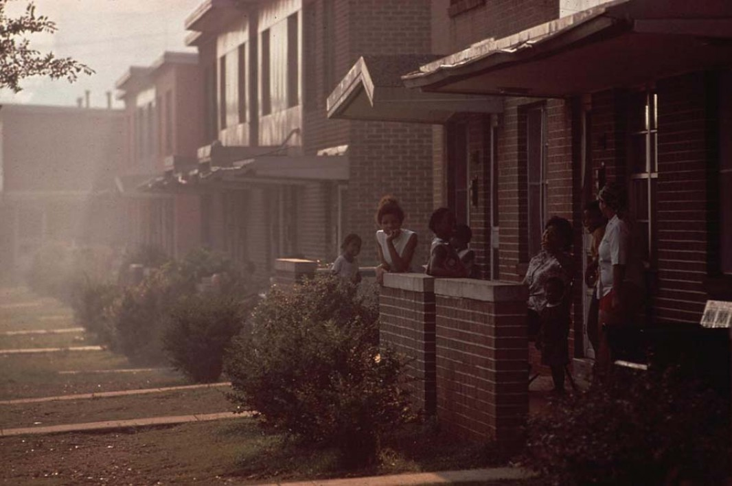Day becomes night when industrial smog is heavy in North Birmingham, Alabama, as on this day in July of 1972. Sitting adjacent to the U.S. Pipe plant, this is the most heavily polluted area of the city.