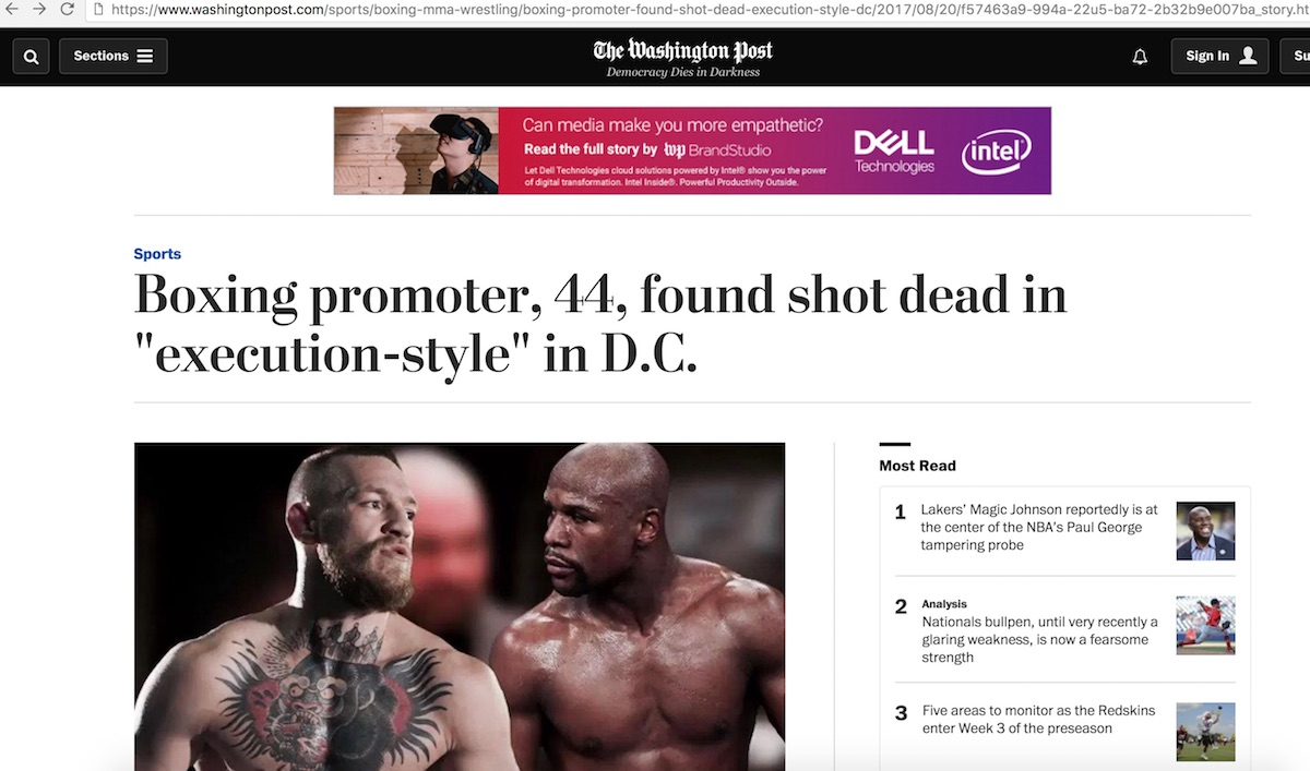 """Washington Post article entitled, 'Boxing promoter, 44, found shot dead in """"execution-style"""" in D.C.' - later scrubbed from the internet"""